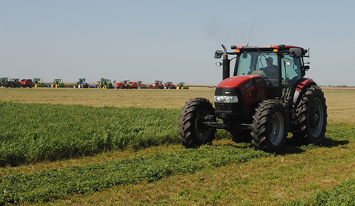 Tractor in field during demonstrations at Husker Harvest Days